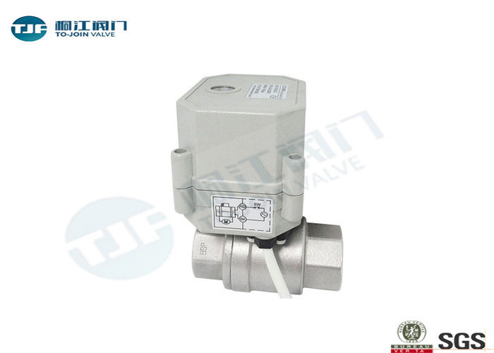 SUS304 Micro Electric Industrial Ball Valve NPT Or BSPT Threaded Type supplier